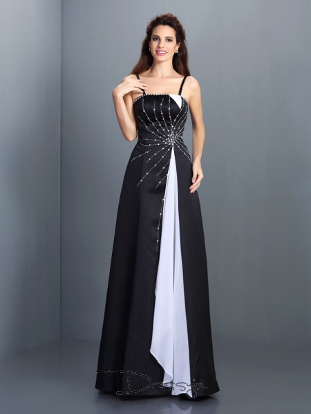 A-Line/Princess Spaghetti Straps Sleeveless Chiffon Long Dress