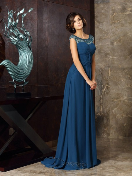 A-Line/Princess Scoop Sleeveless Chiffon Beading Long Mother of the Bride Dresses