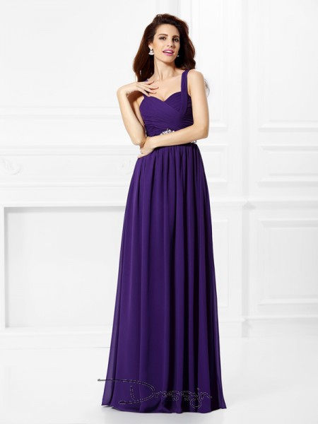 A-Line/Princess Sweetheart Sleeveless Pleats,Beading Chiffon Long Dresses