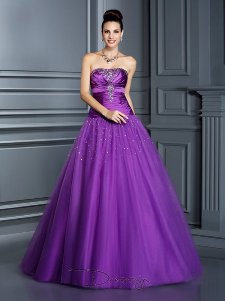 Ball Gown Strapless Sleeveless Taffeta Long Dresses