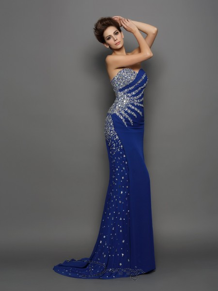 Trumpet/Mermaid Sweetheart Sleeveless Rhinestone Chiffon Court Train Dresses