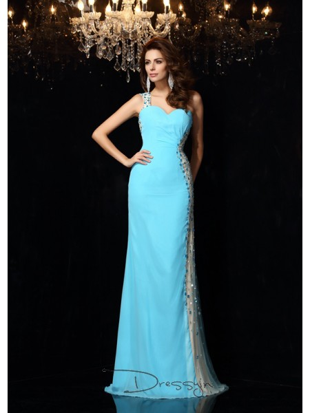 Sheath/Column One-Shoulder Sleeveless Rhinestone Chiffon Long Dresses