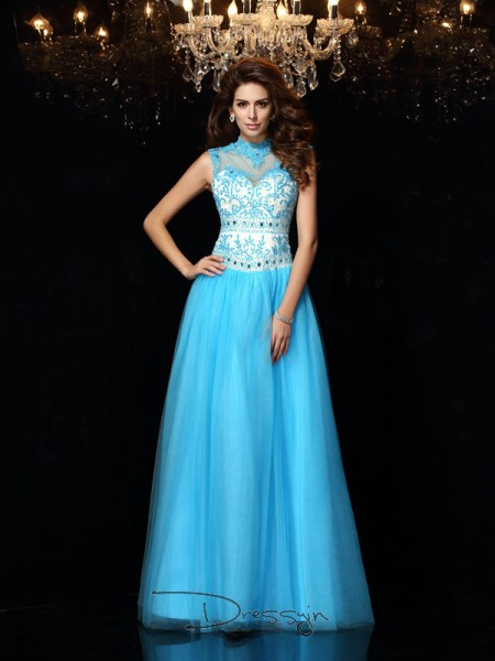 A-Line/Princess High Neck Sleeveless Applique Satin Long Dresses