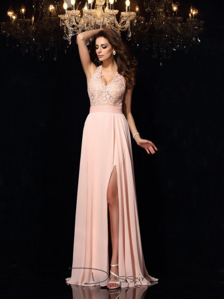 A-Line/Princess Halter Sleeveless Chiffon Long Dresses