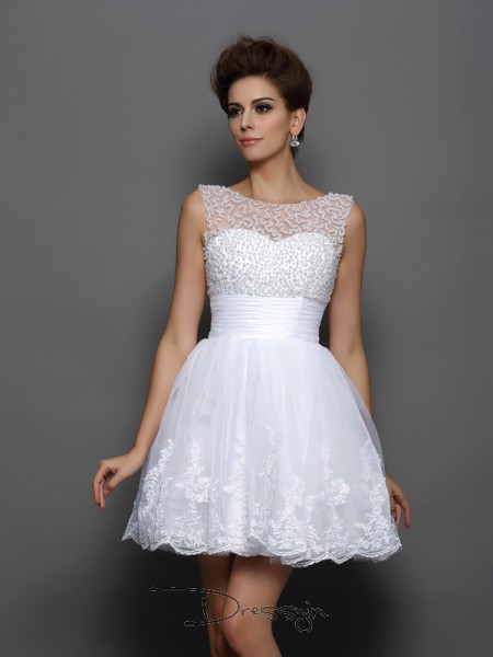 A-Line/Princess Bateau Sleeveless Pearls Elastic Woven Satin Short/Mini Dresses