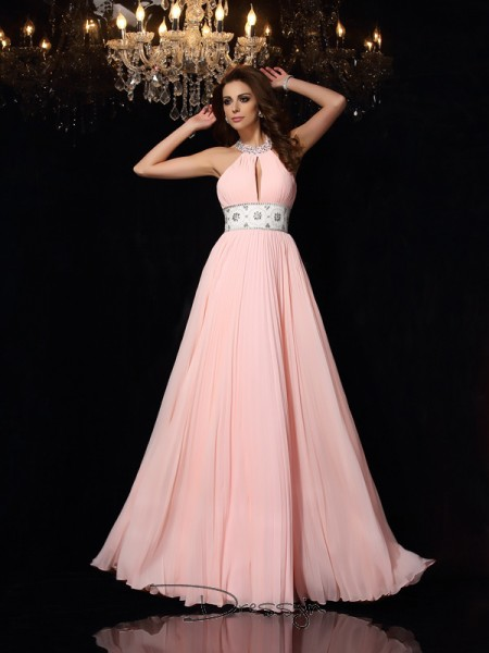A-Line/Princess High Neck Sleeveless Pleats Chiffon Long Dresses