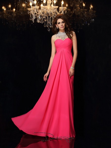 A-Line/Princess High Neck Sleeveless Ruched Chiffon Long Dresses