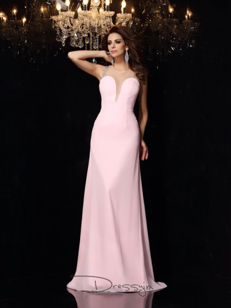 Trumpet/Mermaid Scoop Sleeveless Beading Chiffon Court Train Dresses
