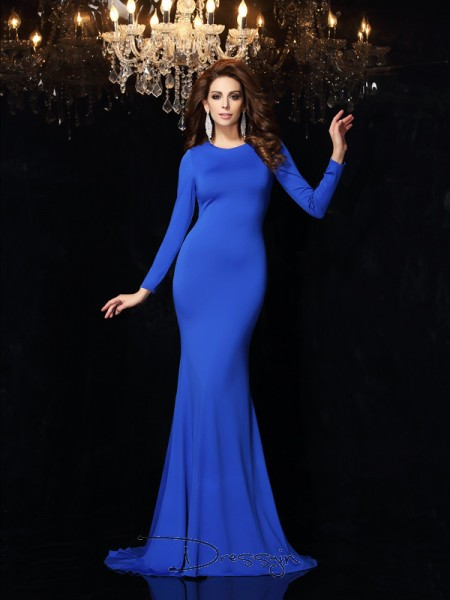 Trumpet/Mermaid Scoop Long Sleeves Spandex Long Dresses