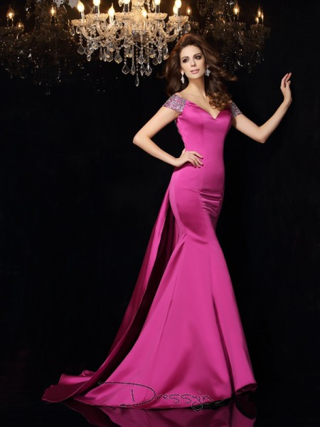 Trumpet/Mermaid Off-the-Shoulder Sleeveless Beading Satin Court Train Dresses