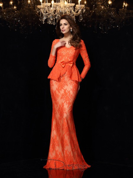 Sheath/Column V-neck Long Sleeves Bowknot Lace Long Dresses