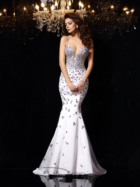 Trumpet/Mermaid Sweetheart Sleeveless Rhinestone Satin Court Train Dresses