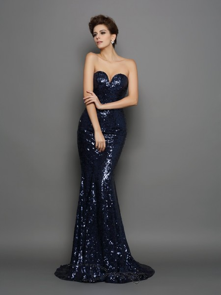 Trumpet/Mermaid Sweetheart Sleeveless Sequin Sequins Long Dresses