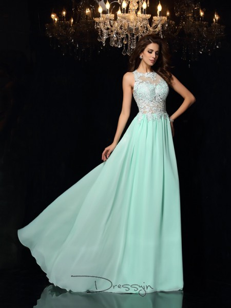 A-Line/Princess High Neck Sleeveless Applique Chiffon Long Dresses