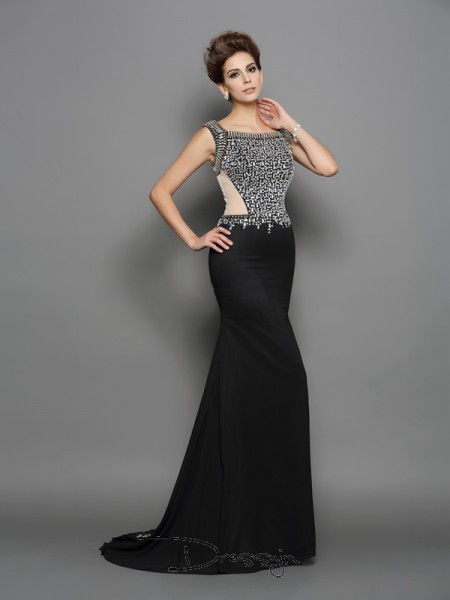 Trumpet/Mermaid Square Sleeveless Beading Chiffon Long Dresses
