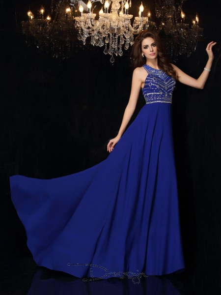 A-Line/Princess High Neck Sleeveless Beading Chiffon Long Dresses