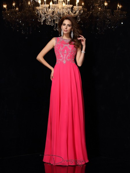 A-Line/Princess Scoop Sleeveless Beading Chiffon Long Dresses