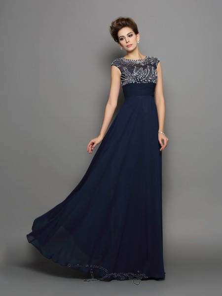 A-Line/Princess Scoop Short Sleeves Beading Chiffon Long Dresses