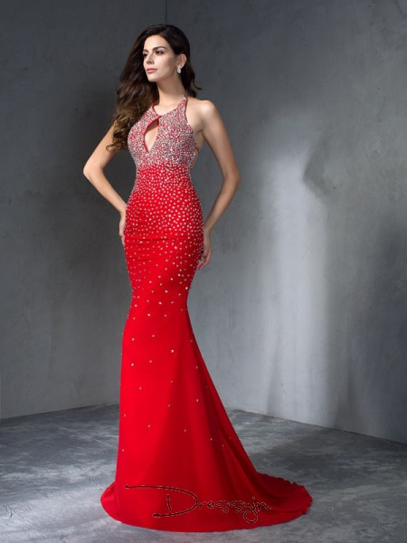 Trumpet/Mermaid Chiffon Sleeveless Halter Beading Long dresses