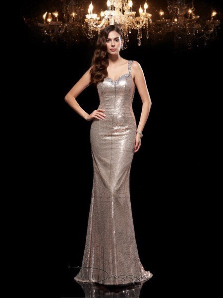 Sheath/Column Sequins Sleeveless Straps Beading Long dresses