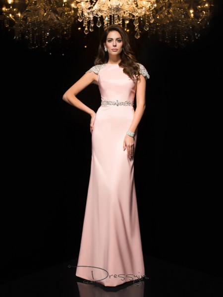 Sheath/Column Satin Short Sleeves Jewel Beading Long dresses