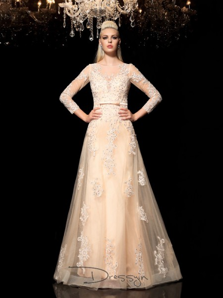 A-Line/Princess Satin Long Sleeves Sheer Neck Applique Long dresses