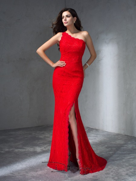Trumpet/Mermaid Lace Sleeveless One-Shoulder Long dresses