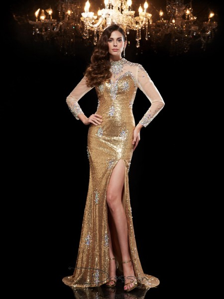 Trumpet/Mermaid Sequins 3/4 Sleeves High Neck Beading Long dresses
