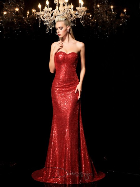 Sheath/Column Sequins Sleeveless Sweetheart Sequin Long dresses