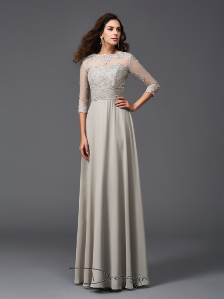 A-Line/Princess Chiffon 3/4 Sleeves Scoop Applique Long dresses