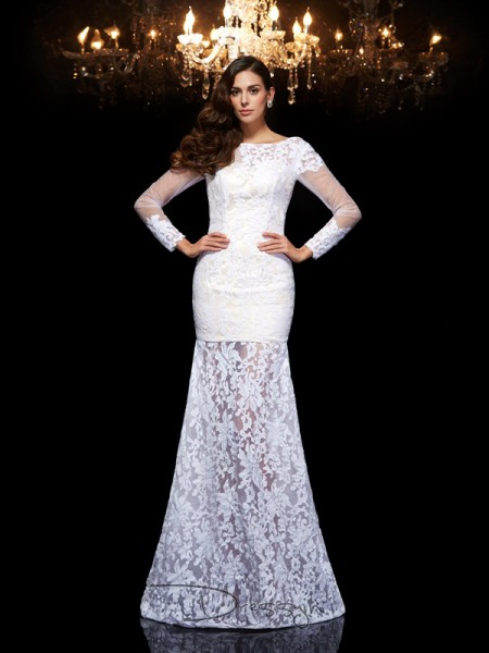 Trumpet/Mermaid Lace 3/4 Sleeves Scoop Long dresses