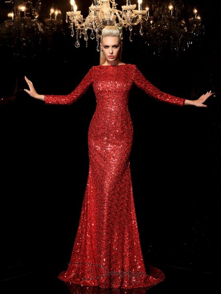 Sheath/Column Sequins Long Sleeves Scoop Sequin Long dresses