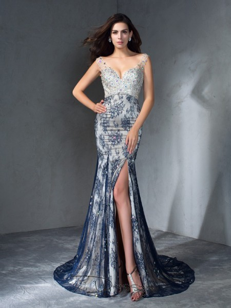 Trumpet/Mermaid Lace Sleeveless V-neck Beading Long dresses