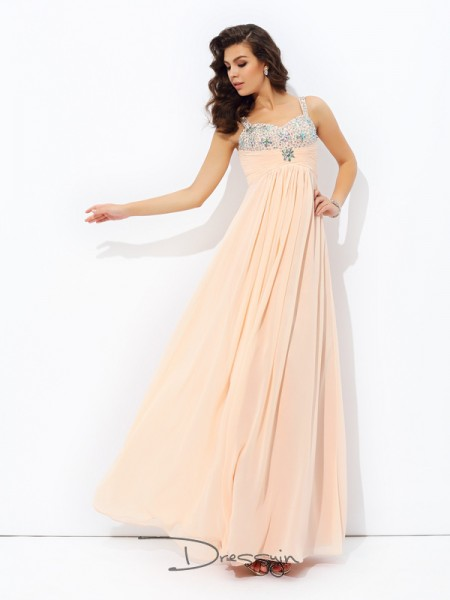 A-Line/Princess Chiffon Sleeveless Spaghetti Straps Beading Long dresses