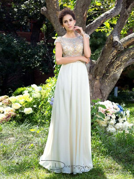 A-Line/Princess Chiffon Short Sleeves Sheer Neck Rhinestone Long dresses
