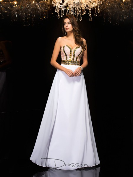 A-Line/Princess Chiffon Sleeveless Sweetheart Sequin Long dresses