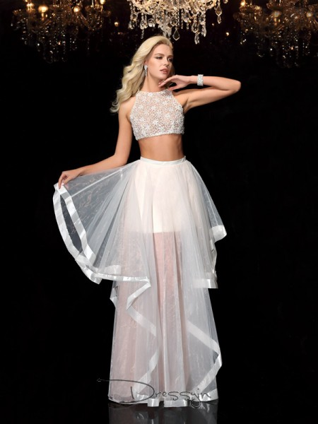 A-Line/Princess Tulle Sleeveless Scoop Applique Long dresses