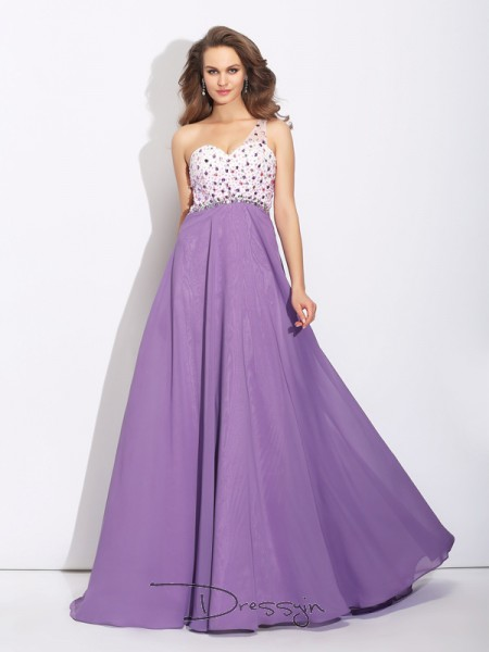 A-Line/Princess Chiffon Sleeveless One-Shoulder Crystal Long dresses