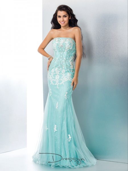 Trumpet/Mermaid Lace Sleeveless Strapless Applique Long dresses