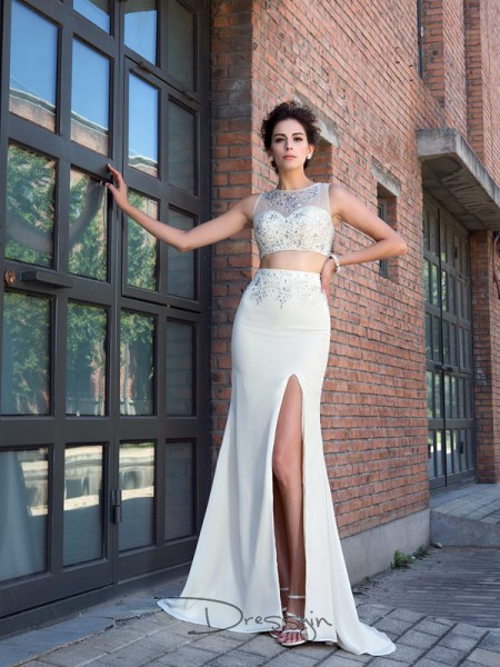 Sheath/Column Chiffon Sleeveless High Neck Crystal Long dresses