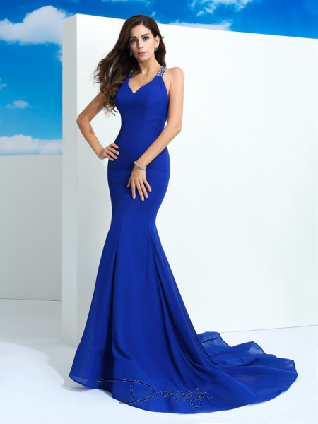 Sheath/Column Chiffon Sleeveless Straps Beading Court Train dresses
