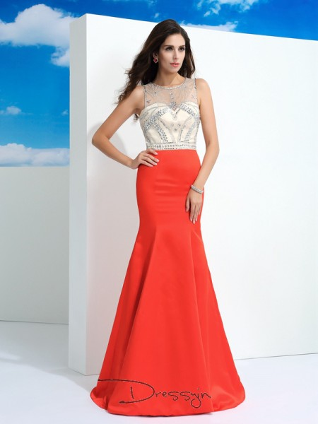 Trumpet/Mermaid Satin Sleeveless Sheer Neck Beading Long dresses