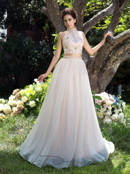 A-Line/Princess Net Sleeveless High Neck Beading Long dresses