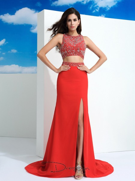 Sheath/Column Chiffon Sleeveless Scoop Beading Court Train dresses
