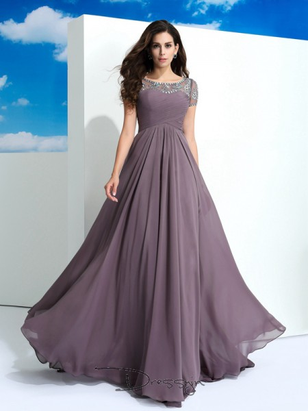 A-Line/Princess Chiffon Short Sleeves Sheer Neck Beading Long dresses