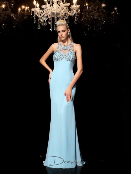 Sheath/Column Chiffon Sleeveless Sheer Neck Beading Long dresses
