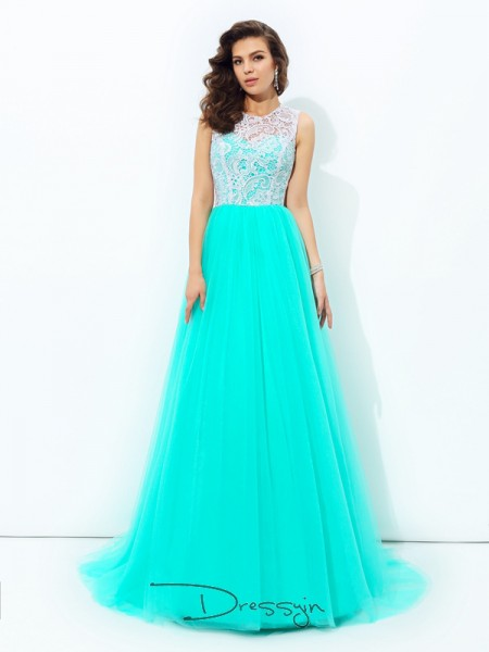 A-Line/Princess Net Sleeveless Scoop Long dresses