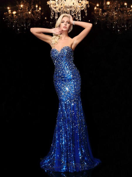 Trumpet/Mermaid Sequins Sleeveless Sweetheart Sequin Sweep/Brush Train dresses