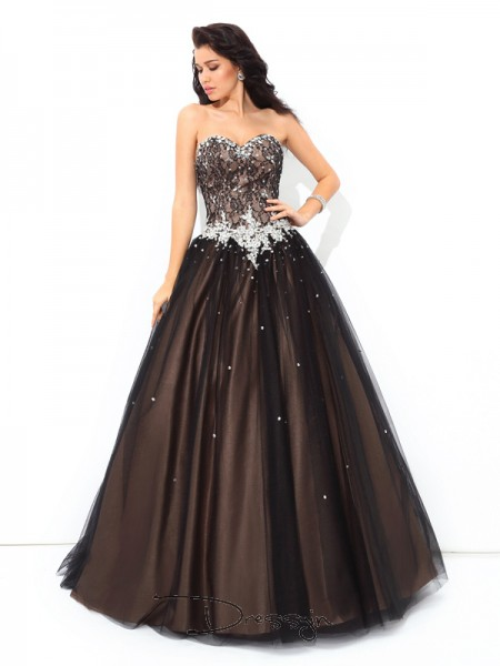 Ball Gown Net Sleeveless Sweetheart Beading Long Quinceanera Dresses