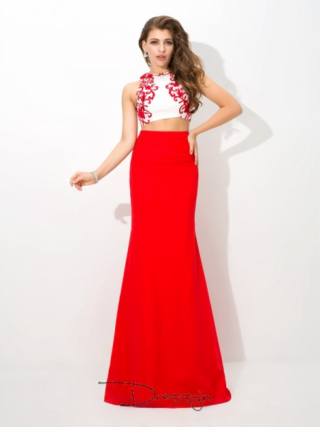 Sheath/Column Chiffon Sleeveless High Neck Applique Long dresses